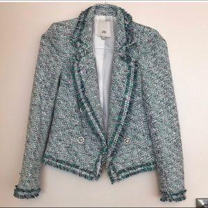 River island tweed boucle blazer green size 6 new
